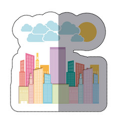 Colorful city builds with clouds and sun vector