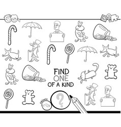 Find one picture of a kind coloring book vector