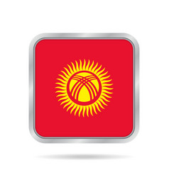 Flag of kyrgyzstan metallic gray square button vector