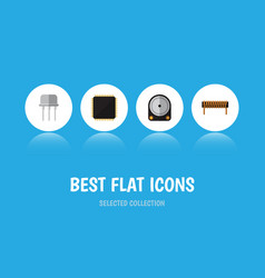 Flat icon electronics set of resist bobbin cpu vector