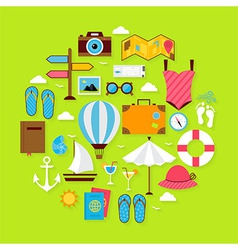 Flat Summer Holiday Icons Circle Shaped Set vector image