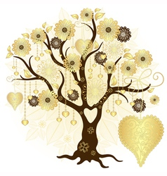 Gold valentine decorative tree vector image vector image