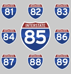 Interstate signs 81-89 vector