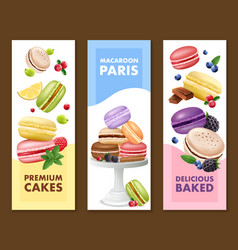 Macaroons vertical banners set vector
