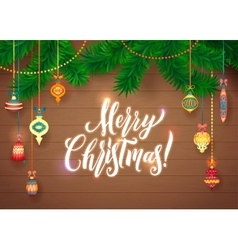 Merry Christmas and Happy New Year Glowing Glass vector image vector image