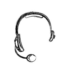 Monochrome sketch of hands free headset icon vector