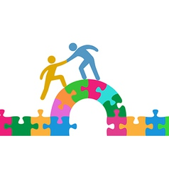 People help join solve bridge puzzle vector image vector image