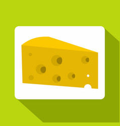 Piece of cheese icon flat style vector