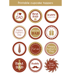 printable hipster cupcake toppers for fathers day vector image