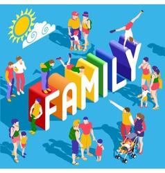 Rainbow family people isometric vector