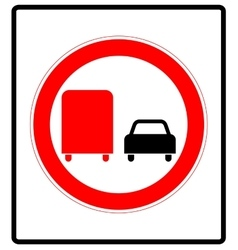 Road sign Prohibitory sign No overtaking by vector image