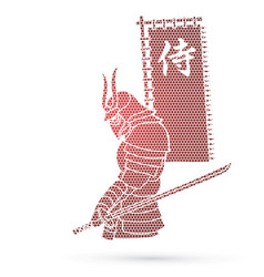 Samurai standing with sword and flag vector