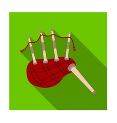 Scottish bagpipes icon in flat style isolated on vector