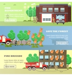 Set of banners with fire fighting concept vector