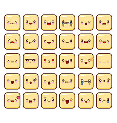 set of emoticons icon big pack emoji isolated on vector image