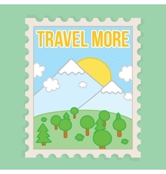 Travel more motivation postcard vector image