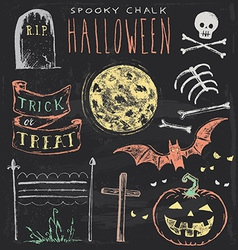 Vintage Chalkboard Halloween Hand Drawn Set vector image