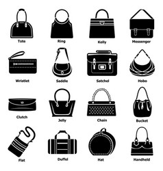 woman bag types icons set simple style vector image