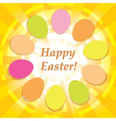 yellow background with easter eggs - happy easter vector image