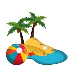 Tropical island and beach ball icon vector