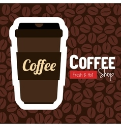 Cup plastic coffee with bean background graphic vector