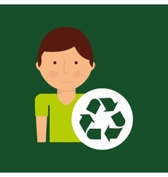 Environment icon boy with recycle symbol vector