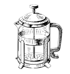 French press tea pot vector