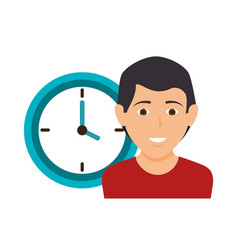 human with clock icon vector image