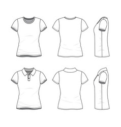 templates of female t-shirt and polo shirt vector image