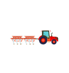 Tractor with plowing equipment icon vector