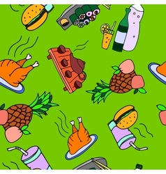 Seamless pattern of food and drinks vector