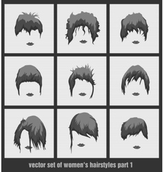 Set of womens hairstyles vector