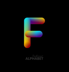 3d iridescent gradient letter f vector image vector image