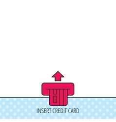 Insert credit card icon shopping sign vector