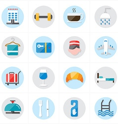 Flat icons for hotel icons and travel icons vector