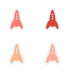 Assembly realistic sticker design on paper rockets vector