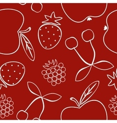 Pattern with different fruits vector