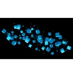 Abstract Blue Cubes Dark Background vector image