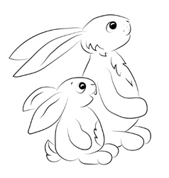 two rabits looking towards outline vector image