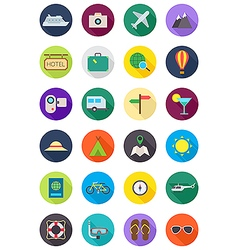Color round traveling icons set vector