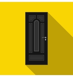 Black steel door icon flat style vector