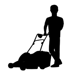 Silhouette of a man with lawn mower vector