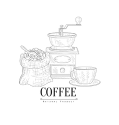 Coffee mill cup and sack of beans hand drawn vector