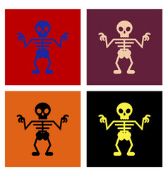 Assembly flat icons halloween skeleton vector