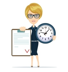 Attractive bookkeeper with folder and clock over vector