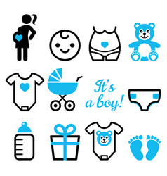 baby boy shower icons set pregnant womant vector image vector image