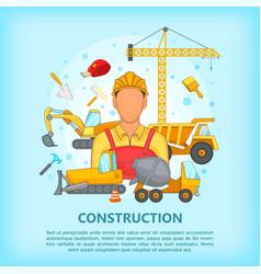Building process concept erector cartoon style vector