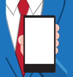 Business man with empty screen smart phone vector