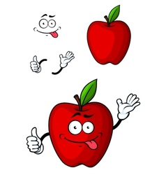 Cartooned red apple fruit character vector image vector image