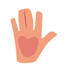 Caucasian human hand showing giving high five vector